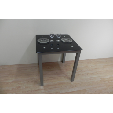 Mesa Refez 70x70. Cristal negro