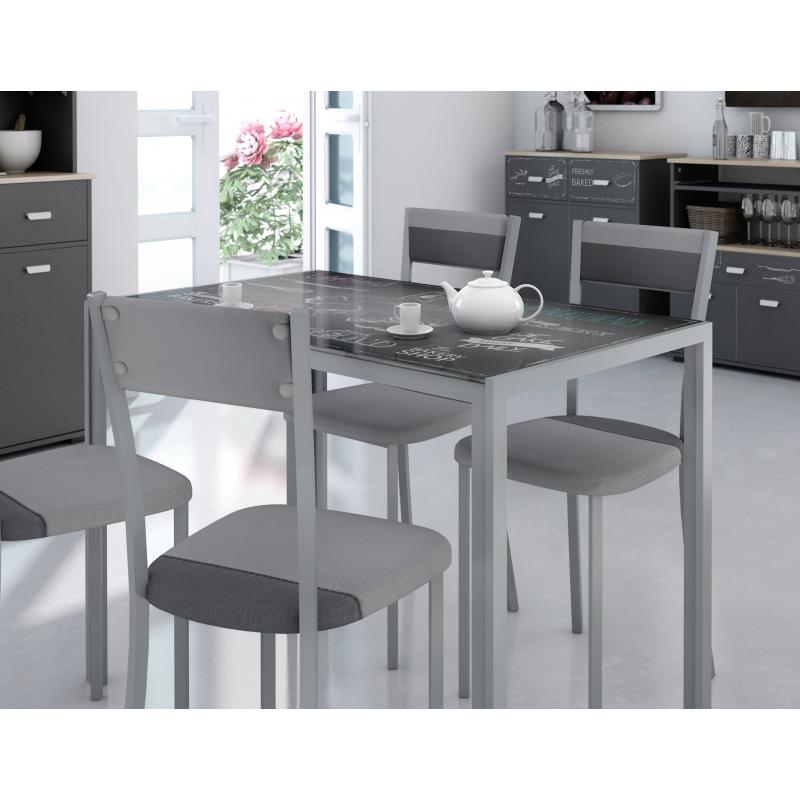 Mesa cocina seligrafiada - Mesa cocina cristal templado ...