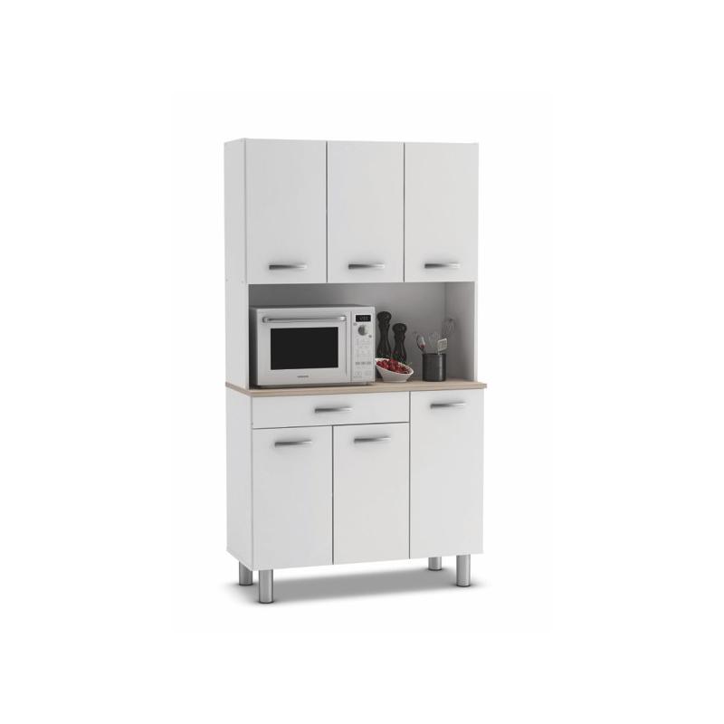 Adesivo Cabeceira Queen ~ Armario aparador cocina 6 puertas Blanco y roble Mimayorista net