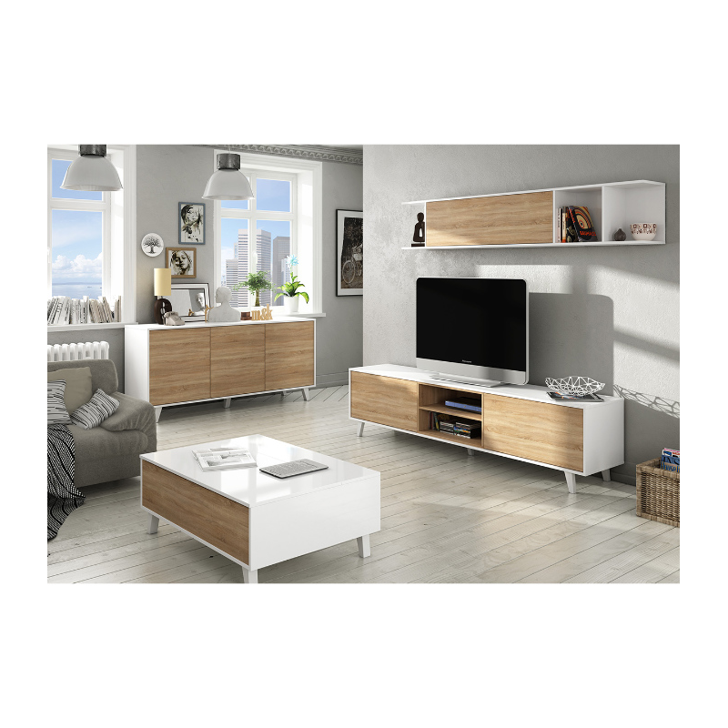 Mueble salon tv for Mueble salon blanco y roble