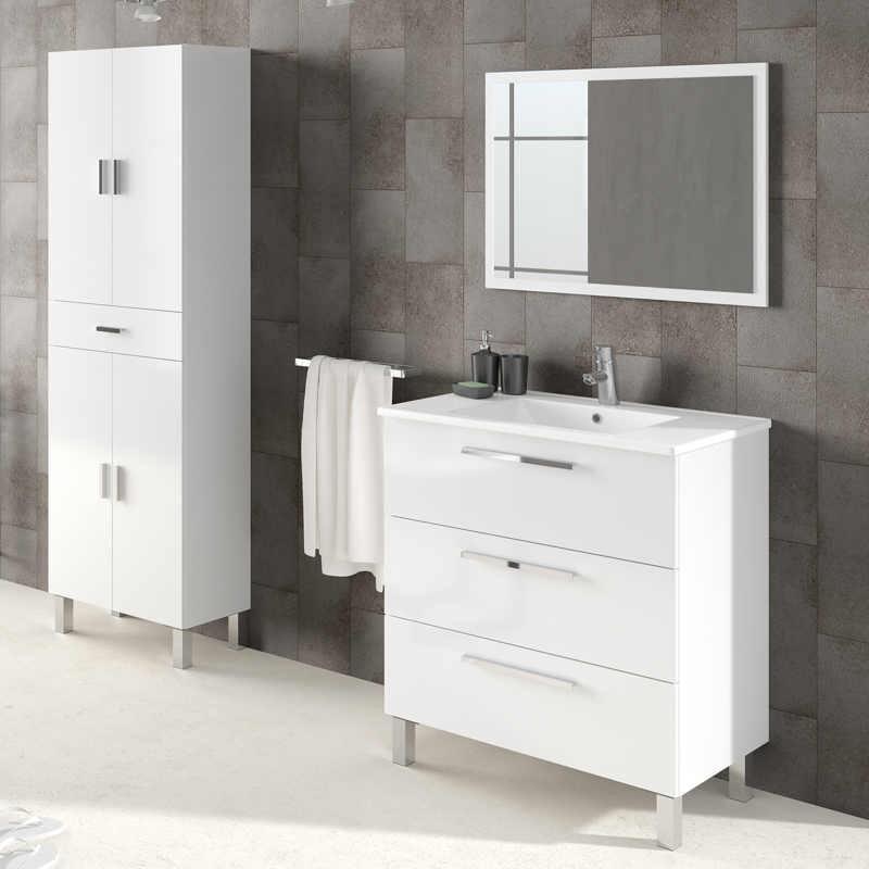 Mueble de ba o y espejo sin lavamanos taria en blanco for Mueble blanco brillo
