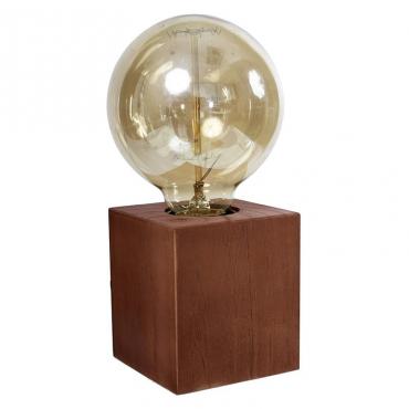 Lámpara Sobre mesa cubo marrón
