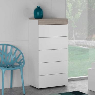 Cómoda Oslo 5 cajones color blanco brillo y fresno 118x61x40 cm