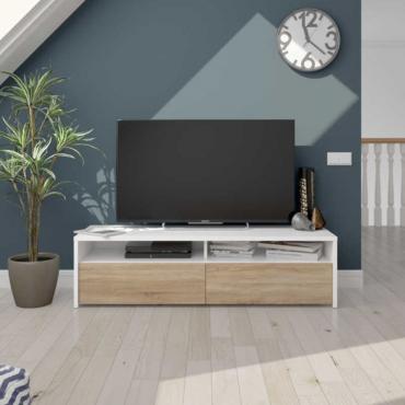 Mesa multimedia TV color blanco artik y roble canadian 130 cm