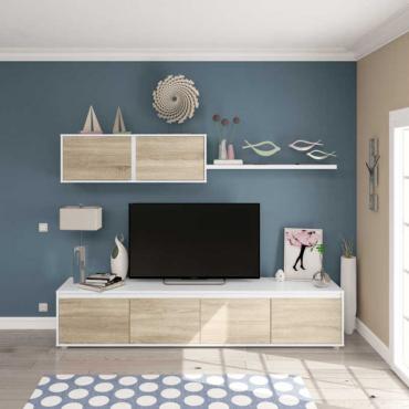 Mueble salón comedor color roble canadian y blanco artik 200 cm