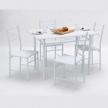 Pack mesa y 4 sillas color blanco 110x76x70 cm