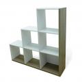 Estantería o biblioteca Scala con 6 compartimentos color blanco y roble 126x128x29 cm