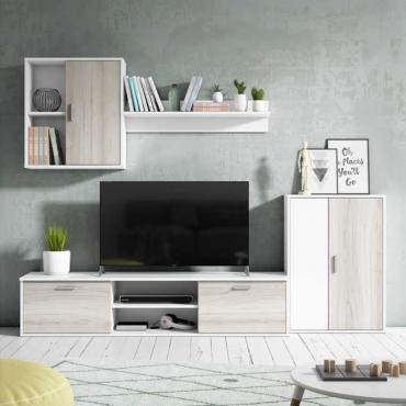 Mueble salón comedor Visby en color blanco y shamal 180x220 cm