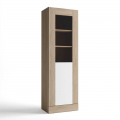 Vitrina alta Malmo 1 puerta para salón comedor color sable y blanco 191x60x40 cm