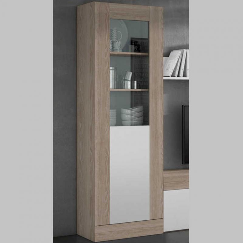 Vitrina alta Malmo 1 puerta para salón comedor color sable y blanco ...