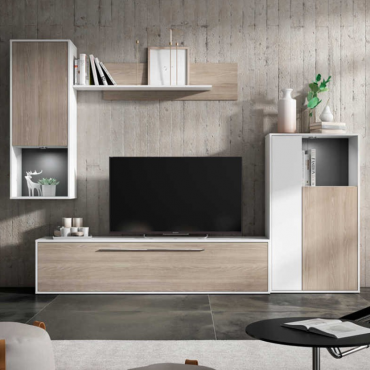 Mueble para salón comedor Tampere en color blanco y sable 210x250 cm