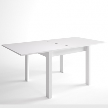 Mesa de salón comedor extensible Malmo I blanca 90-180x76 cm