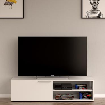 Módulo bajo TV blanco brillo
