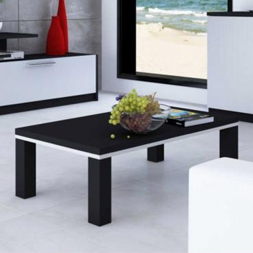 Mesa de centro para salón - comedor Fosca en color negro y plata 90x50x37 cm