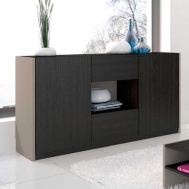 Buffe o aparador para salón - comedor Arizona en color negro y arcilla 83x165x43 cm