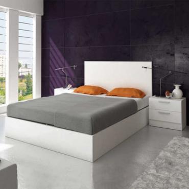 Pack cabezal + dos mesitas de noche para camas de 150 cm en color blanco para dormitorio 200 cm