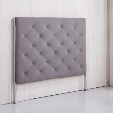 Cabezal tapizado tela gris ceniza-arena