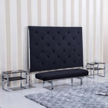 Cabezal tapizado en tela gris marengo