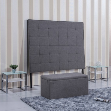 Cabezal 160cm de tela gris ceniza-arena