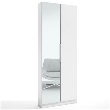 Zapatero Milano blanco 2 puertas con espejo entero 70x180x20 cm