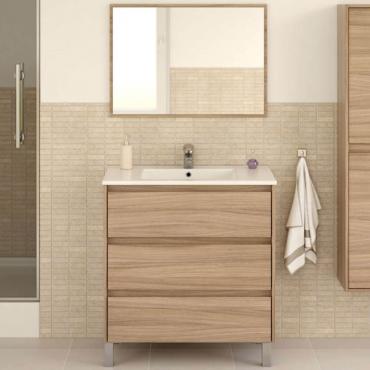 Mueble baño o aseo con espejo 3 cajones cierre progresivo 86x80x45 cm (LAVAMANOS OPCIONAL)