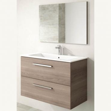 Mueble lavabo suspendido con espejo Aruba 2 cajones color fresno 57x80x45 cm (LAVAMANOS OPCIONAL)
