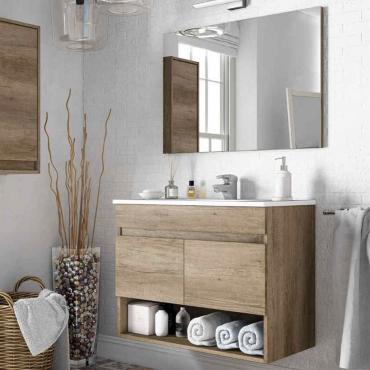 Mueble baño con espejo 2 puertas y hueco abierto 80x45x64 cm LAVAMANOS OPCIONAL