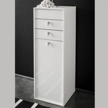 Joyero con espejo Esmeralda armario tocador color blanco mate 43x123x50 cm