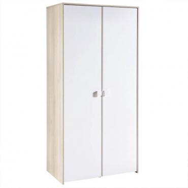 Armario puertas blanco y acacia