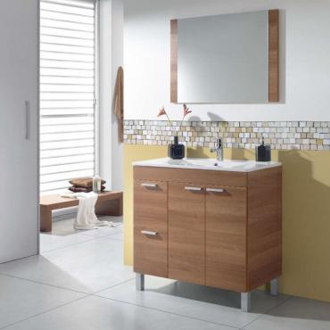 Mueble de aseo y espejo sin lavamanos Sabela Nogal