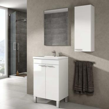 Mueble de baño y espejo sin lavamanos , Camelia en Blanco Brillo