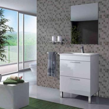 Mueble de baño y espejo sin lavamanos , Manila Lacado en Blanco Brillo