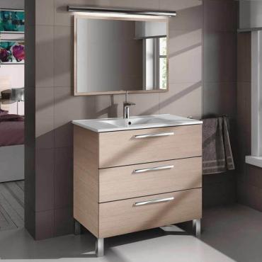 Mueble de baño y espejo sin lavamanos , Taria en Roble