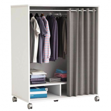 Mueble ropero con cortina gris