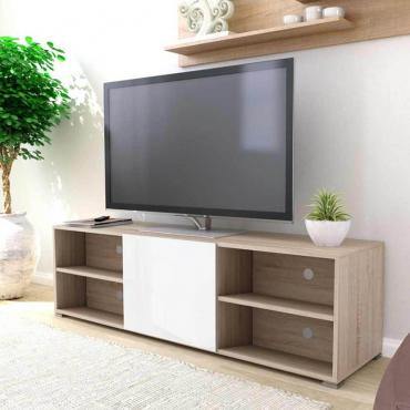 Mueble TV blanco y roble