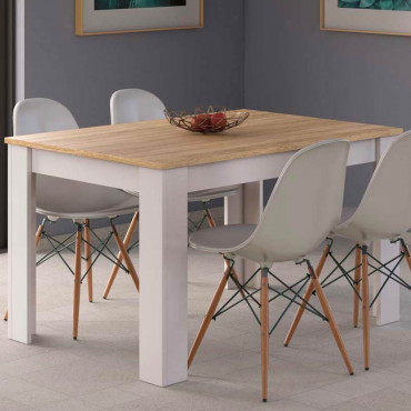 Mesa extensible blanco y roble
