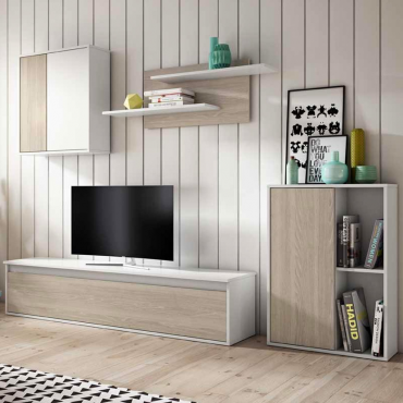 Mueble salón estilo escandinavo color blanco y sable