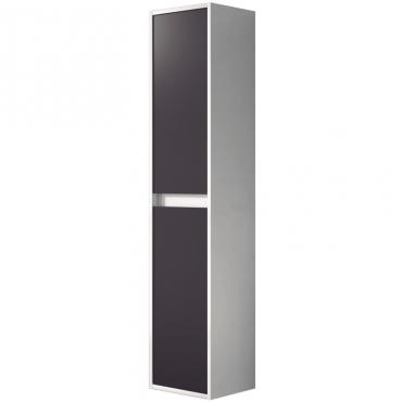 Columna de baño colgante Due 2 puertas color blanco brillo y gris