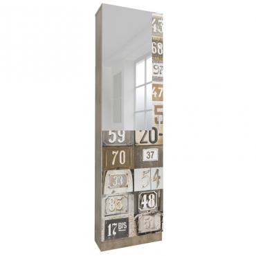Zapatero alto con espejo y decoración números