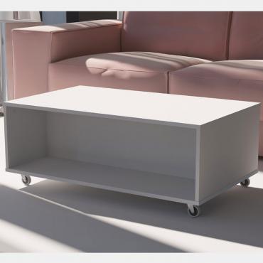 Mesa centro con ruedas Gran Dan color blanco 100x60 cm