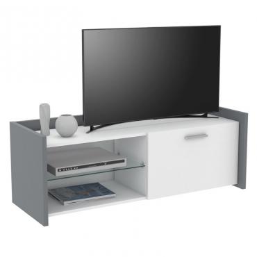 Mueble TV Plume color blanco y gris