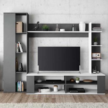 Mueble TV salón Nest blanco y gris moderno