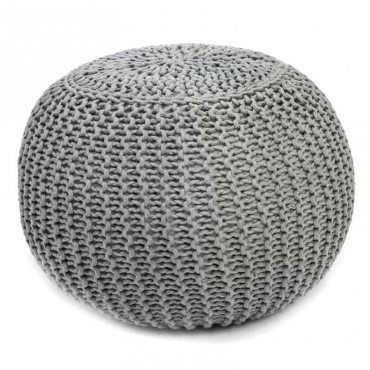 Pouf redondo Boho Chic color gris salon dormitorio