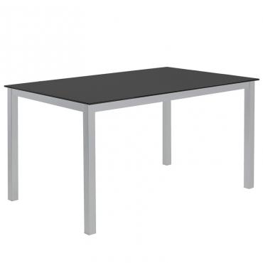 Mesa cocina Cadell cristal negro estructura meta