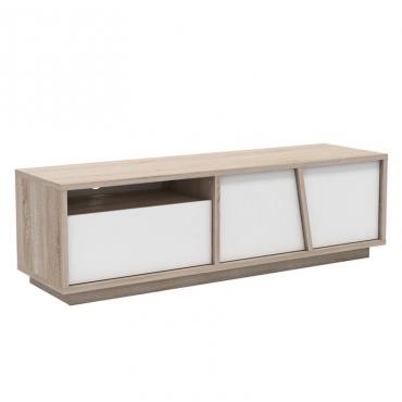 Mueble TV moderno roble y blanco