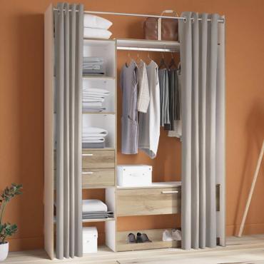 Armario vestidor abierto blanco y roble