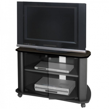 Mueble TV negro puerta cristal 1 estante
