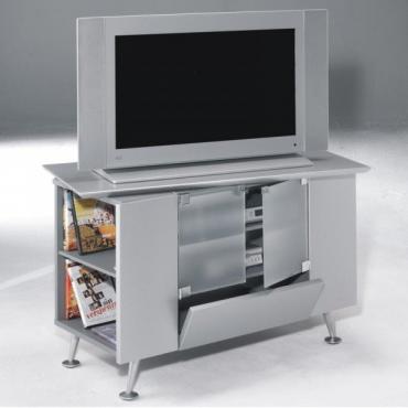 Mesa TV retro color plata giratoria