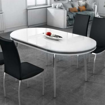 Mesa comedor ovalada blanca moderna