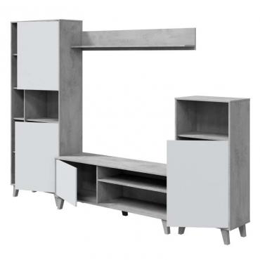 Mueble de salón modular Zoe color blanco y cemento
